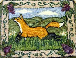 Miniature Punch Needle Rug Fox And Gs